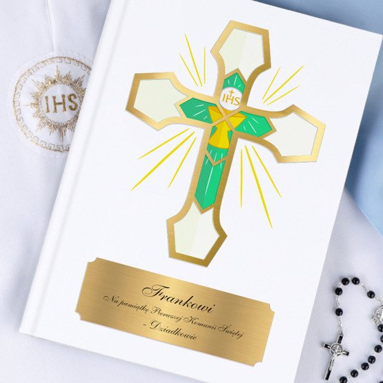 Biblia-Pamiatka I Komunii Świętej - Krzyż z witrażem