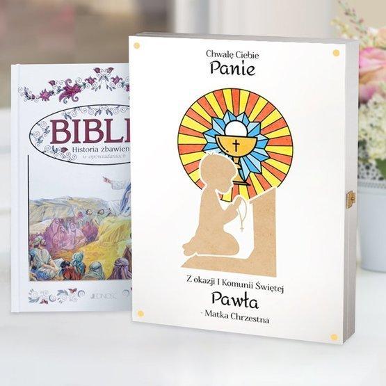 Biblia w drewnianym pudełku - modlitwa
