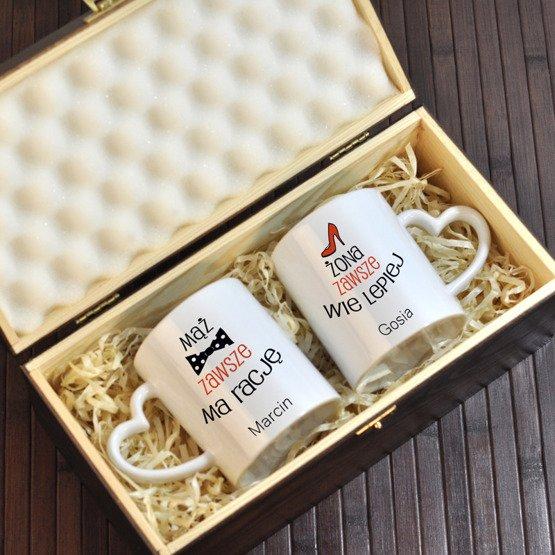 """Dwa kubki w pudełku z grawerunkiem """"Mąż i Żona"""""""