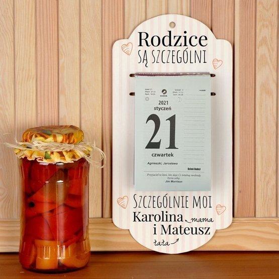 Kalendarz na deseczce z nadrukiem-Szczególni rodzice...