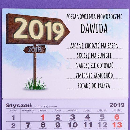 """Kalendarz ścienny z nadrukiem """"postanowienia noworoczne"""""""