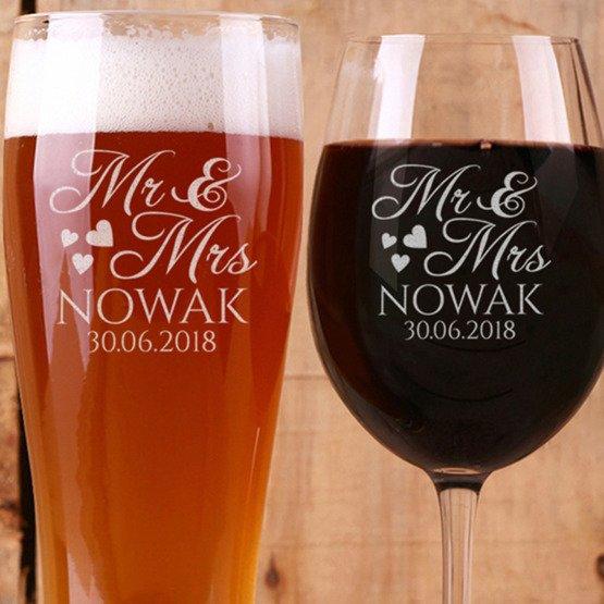Kieliszek do wina i szklanka do piwa - prezent dla małżonków