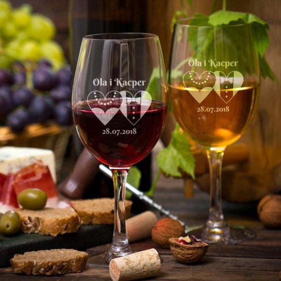 Kieliszki do wina  - serca