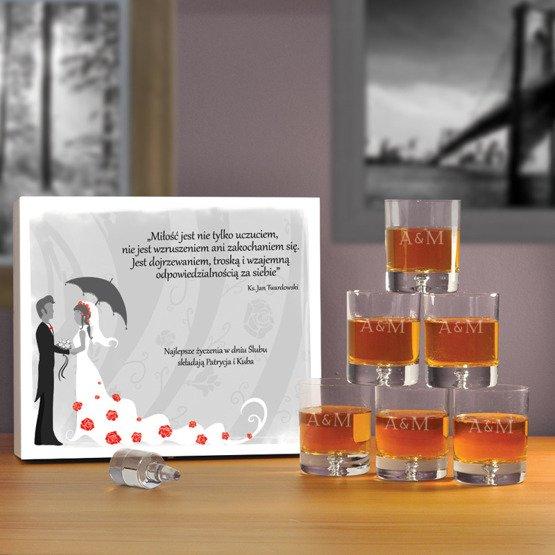 "Komplet sześciu szklanek w pudełku na ślub- ""Młoda Para"""