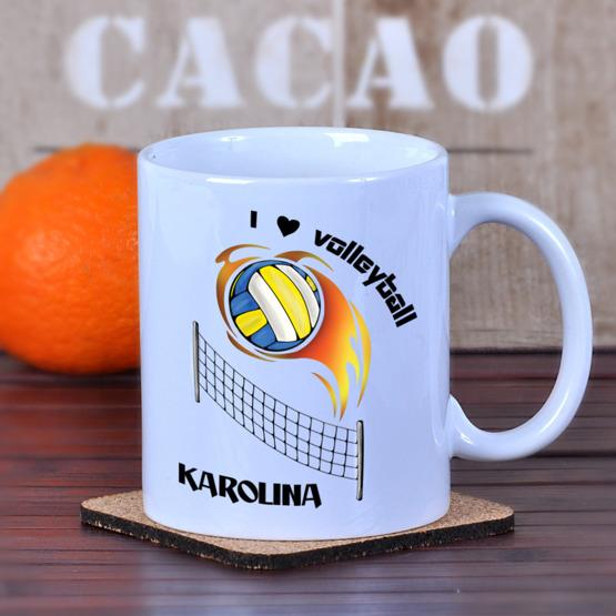 """Kubek dla siatkarza z kolorowym nadrukiem """"I love volleyball"""""""