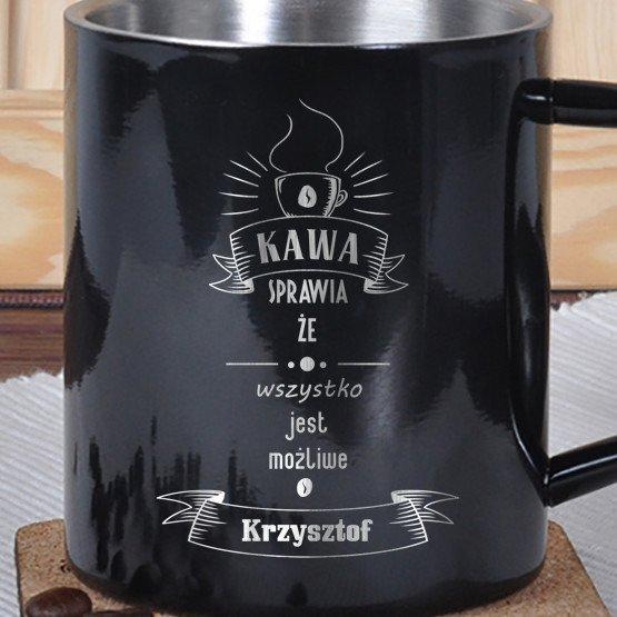 Kubek metalowy- kawa sprawia...