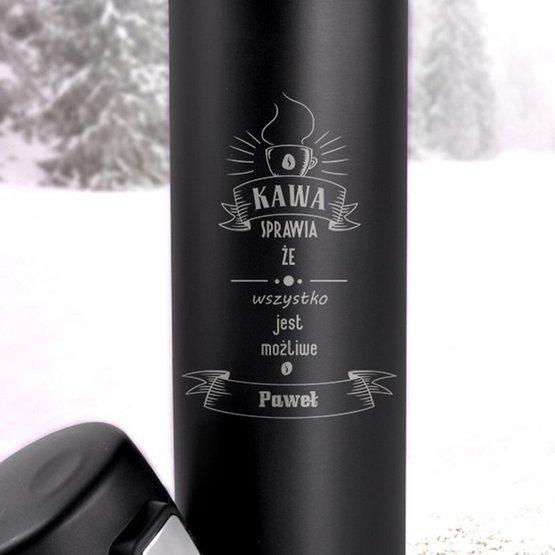 Kubek termiczny 450ml czarny- kawa sprawia...