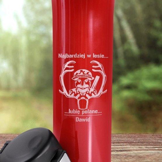 Kubek termiczny 450ml czerwony dla myśliwego