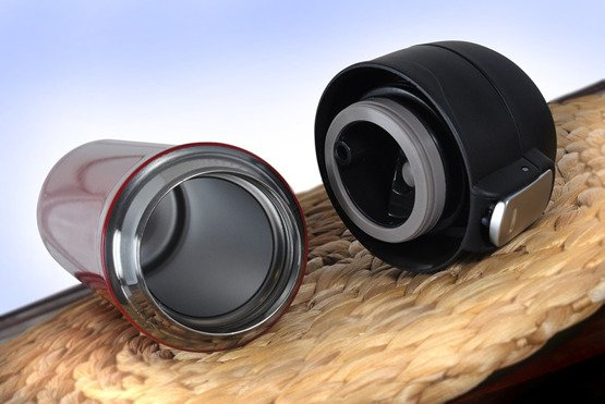 Kubek termiczny 450ml czerwony-  przed i po kawie
