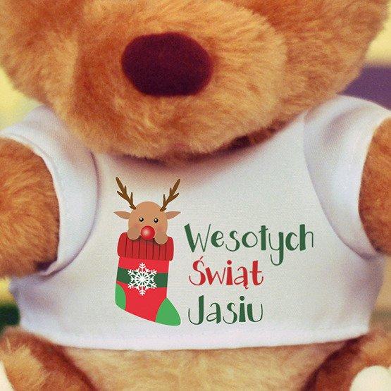 Miś pluszowy- Renifer w świątecznej skarpecie