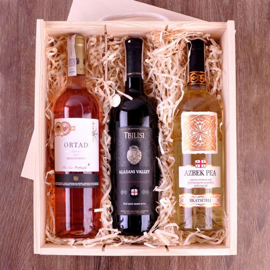 Pudełko na trzy wina dla pary - Mr & Mrs