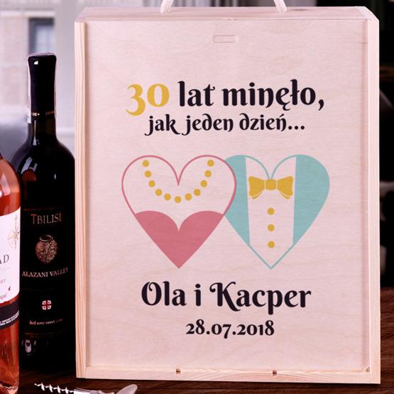Pudełko na trzy wina dla pary - rocznica