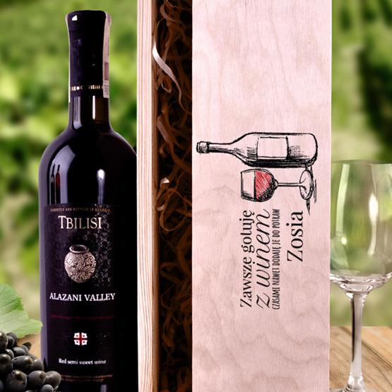 Pudełko na wino - zawsze gotuję z winem