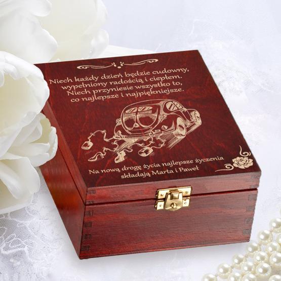 "Pudełko z herbatą na ślub- ""Garbus"""