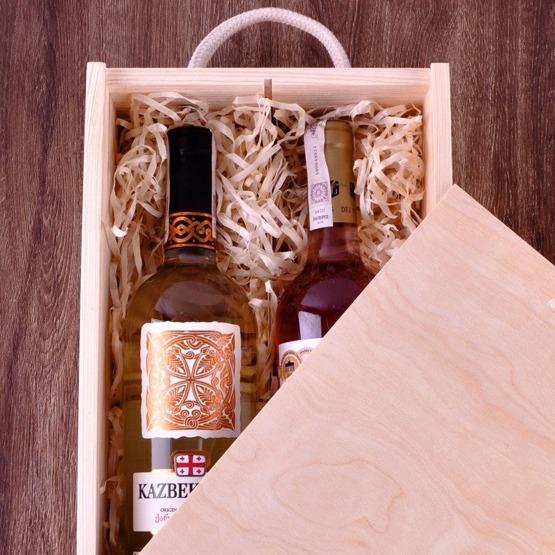 Pudełko z przegródką na dwa wina - węzeł małżeński
