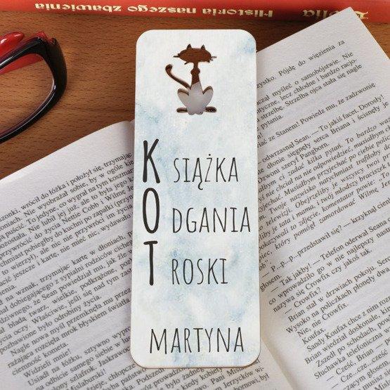 Zakładka do książki z kotem -Książka Odgania Troski