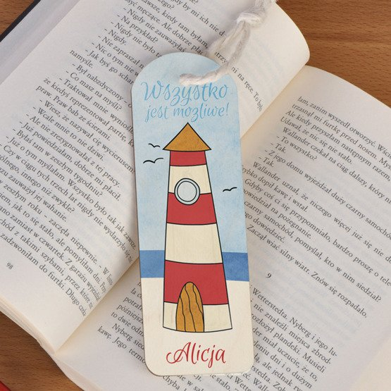 Zakładka do książki ze sznureczkiem - latarnia morska