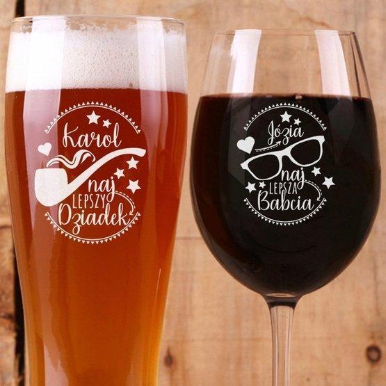 Zestaw dla Najlepszych Dziadków: kieliszek do wina i szklanka do piwa