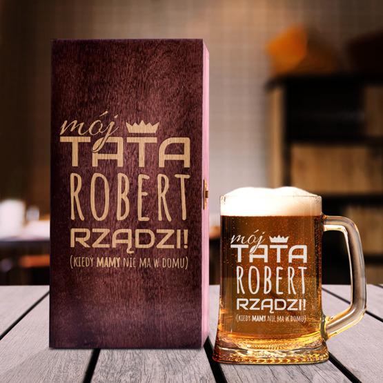 Zestaw prezentowy dla taty - Kufel w pudełku - Tata rządzi