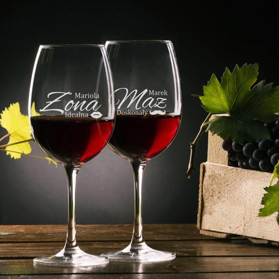 Zestaw pudełko z kieliszkami i miejscem na wino - idealna żona i doskonały mąż