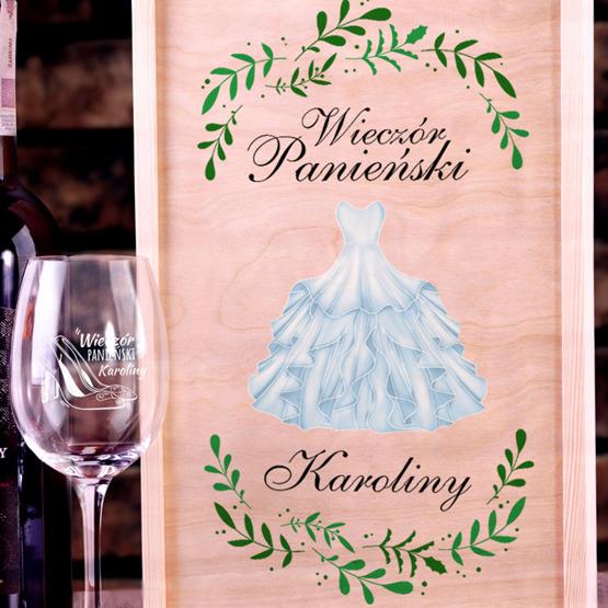 Zestaw pudełko z kieliszkiem i miejscem na wino - wieczór panieński